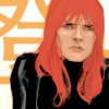 borealgrove: Black Widow looking disgruntled against a bold lettered background (Black Widow)