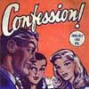 rabbitica: vintage 50s illustration saying confession! (confession!)