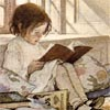 rabbitica: little girl reading a book by the light of a window (window reading)