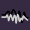 chalcedony_px4: Two scribbled waveforms, one off-black and one off-white, overlapping, on a flat darkish purpleish background. (scribble twins)