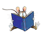 fred_mouse: line drawing of mouse sitting on its butt reading a large blue book (book)