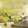via_ostiense: Han Gyeol jumping into lake (CP Whee!)