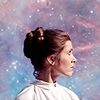 mercurios: leia from star wars with a nebula in the background (leia)
