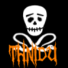 thnidu: Jolly Roger, black w white skull & cross-snakes, THNIDU in creepy orange caps. tinyurl.com/c32ajat (skull)
