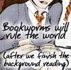 "trouble: Sketch of Hermoine from Harry Potter with ""Bookworms will rule the world (after we finish the background reading)"" on it (Soup!)"