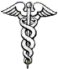 thnidu: winged staff with two serpents coiled around it (caduceus)