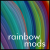 "rainbowmods: Rainbow of silk threads with ""rainbow mods"" as the text (Default)"