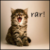"trouble: Wee little kitten, mouth open, with ""rar!"" in the corner (Rar!)"