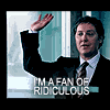 "sarcasticsra: A picture of Alan Shore raising his hand with the text, ""I'm a fan of ridiculous."" (boston legal: fan of ridiculous)"
