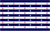 thnidu: 13 horizontal stripes, blue and white; 50 stars in the same layout as US flag, red on white and white on blue. By me. (Glory Variation #1)