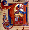 adrianners: Medieval illuminated initial A depicting Judith and Holofernes (Judith and Holofernes)