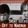"trouble: Edmund and Peter from Narnia.  ""Today sucks: Off to Narnia"" (narnia)"