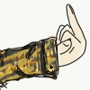 thedaughteroftyr: Doodle of a flannel shirt covered arm ending in hand making a rude gesture. (Eff Off)