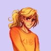 bluegansey: annabeth chase looking to the left both shy and determined with a cut on her face (annabeth chase purple)