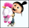 hunningham: Agnes and her cuddly fluffy unicorn. It's so fluffy; she's so happy. (Fluffy)