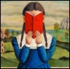 nightdog_barks: Girl reading a book that covers her face (Book reading girl)