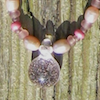 jesse_the_k: rose glass pendant hangs from beaded chain with pearls (glass bead pendant)