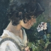 scvdder: a painting of an androgynous, hobbit-like person with dark, curly hair sniffing a delicate flower (frodo)