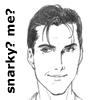 """stephaniecain: a smirking dark-haired man with text """"snarky? me?"""" (ed snark)"""