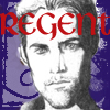 "stephaniecain: a solemn, scruffy man with the word ""regent"" across his forehead (fithian)"