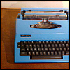 stephaniecain: picture of a bright blue royal electric typewriter (royal typewriter)