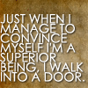stephaniecain: just when i manage to convince myself i'm a superior being, i walk into a door. (walk into a door)