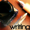 "stephaniecain: an ink pot and pen nibs with the word ""writing"" (writing)"