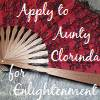 el_staplador: Red fan, with text 'Apply to Aunty Clorinda for Enlightenment' (madame c)