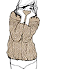 melissa_42: drawn woman in a sweater (music to my earholes)