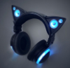 oceanandspace: a picture of the blue lighted headphones with cat ears (music cat headphones)