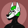 space_kadett: bust of black and white wolf with neon green details. (Default)