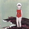 exchangediary: illustration of a girl in a red bathing suit at the seaside (Jen Corace: Seaside)