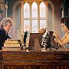 grassangel: the Twelfth Doctor and Bill sitting across from each other in the Twelfth Doctor's office, light streaming in from the window (Bill, 12)