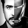 james: left half of face is tony stark right half of face is iron man mask (tony stark ironman)
