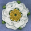 chuksha: A crocheted Yorkshire Rose on a blue background (Rose Yorkshire crochet)