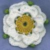 chuksha: A crocheted Yorkshire Rose on a blue background (Default)