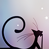 nenya_kanadka: thin elegant black cartoon cat (@ Cat Who)
