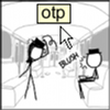 "triadruid: Hat Guy and Hat Girl from the XKCD comic, with the rollover text ""OTP (One True Pairing)"" (OTP)"