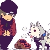 mortal_son: super-deformed Shinjiro feeding Koromaru steaks (lunch tiem)