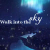 "winkingstar: River with village lights on either side and the night sky and aurora above; text says ""walk into the sky"". (Default)"