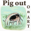 feng_shui_house: drawing of a pig text pig out on art (Art pig)