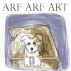 feng_shui_house: drawing puppy in box, text arf arf art (Art Puppy, Arf)
