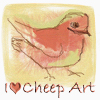 feng_shui_house: drawing of robin text I heart cheep art (cheep art, Art robin)