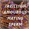 "lb_lee: A bunch of sperm with the words ""jazillion amorous mating sperm."" (jazillion)"
