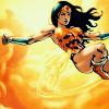 ladydreamer: Wonder Woman floating on her back in the sky. (Wonder Woman Floats)