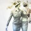 muccamukk: Two women in Jazz Age suits, walking arm in arm through a garden. (Politics: Historical Ladies)