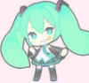 trueprinci: a cute, chibi-styled miku posing with a twinkle near her eye. (Default)
