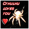 feng_shui_house: White spider text Cthulhu Loves You (Cthulhu Spider)