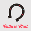 helloladies: Gray icon with a horseshoe open side facing down with pink text underneath that says Culture Chat (culture chat)