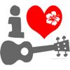 ukuleles: Cartoon: I [red heart + hibiscus] [image of ukulele] (I <3 ukulele)